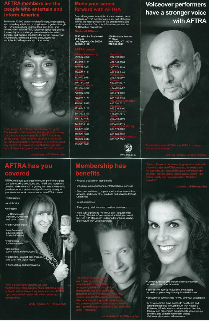 Chris M. Allport in the AFTRA News with the late, legendary Don LaFontaine, Randy Thomas, Lori Alan and Iona Morris
